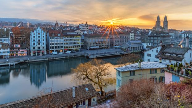 Zurich, Zurich, Switzerland, sunset, view