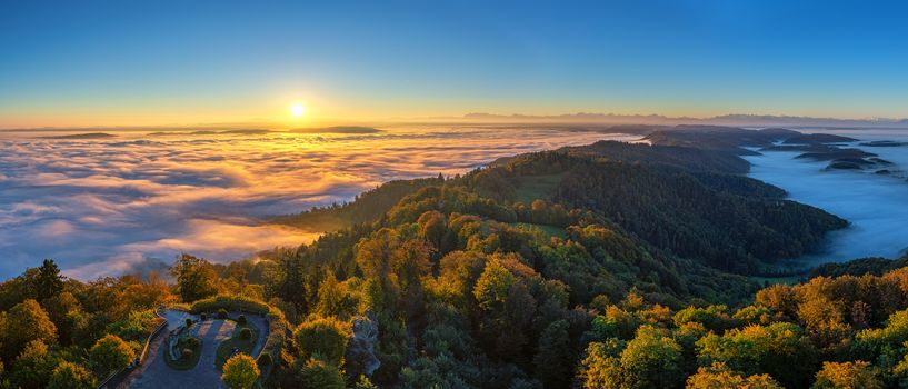 Zurich, Sea mist, sunrise, view, Switzerland