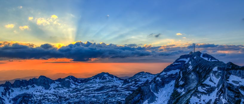Switzerland, Alps, the mountains, sunset, view, landscape