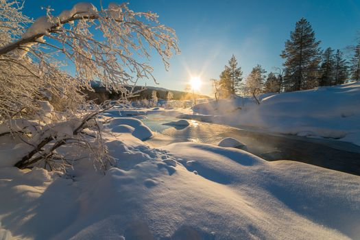 winter, sunset, snow, snowdrifts, small river, trees, landscape