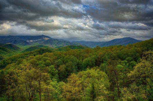 Great Smoky Mountains National Park, the mountains, clouds, trees, landscape