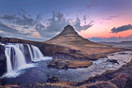 Waterfall, Kirkjufell, Iceland, waterfall, forest Kirkyyufell, Iceland