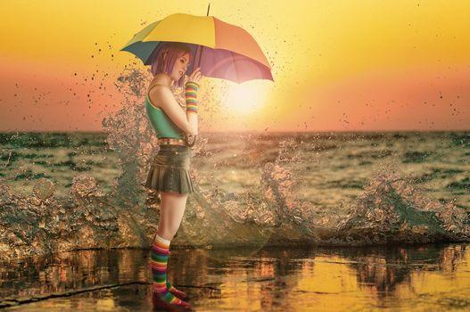 sunset, girl, umbrella, spray, sea, mood