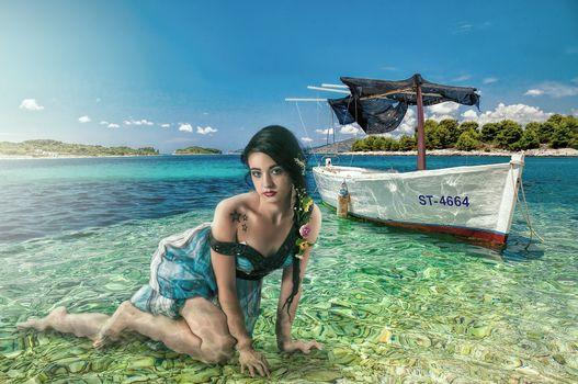 sea, girl, beautiful girl, a boat, mood