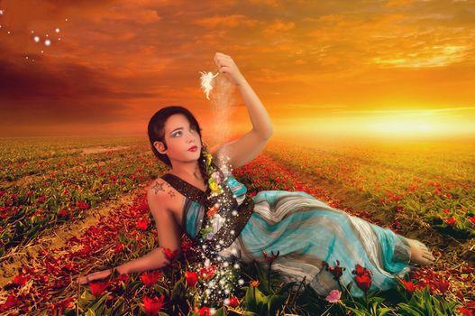 sunset, field, flowers, girl, beautiful girl, beauty, angel, fairy, Fiction