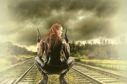 Railway, girl, warrior