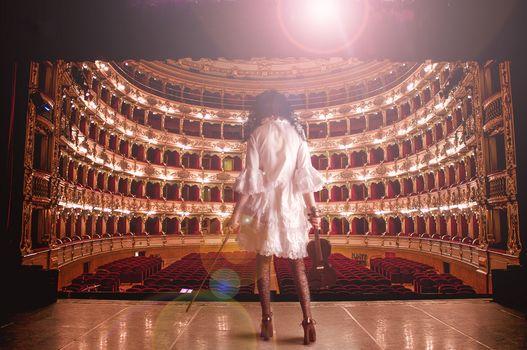 theater, girl, violin