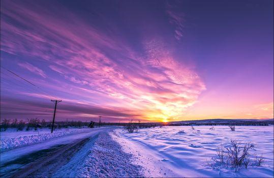 sunset, road, winter, landscape