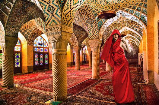 Mesquita, Roman Catholic Cathedral, Cordoba mosque, room, interior, girl