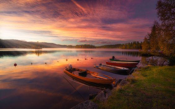 Ringerike, Norway, sunset, River, boats, landscape