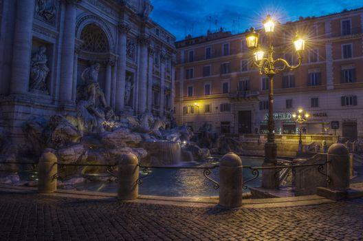 Roma, Trevi fountain, city, night, lights