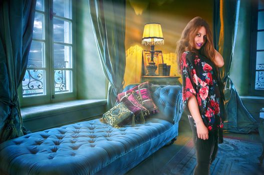 room, bed, window, lamp, interior, girl