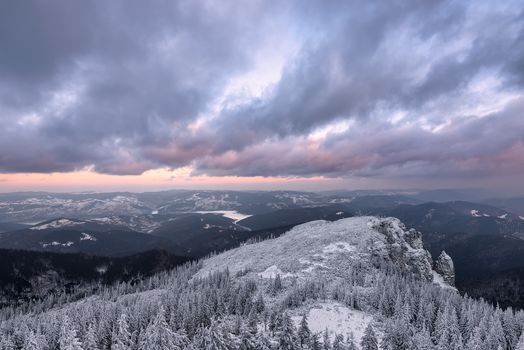 Chakhleu, Romania, winter, the mountains, trees, sunset