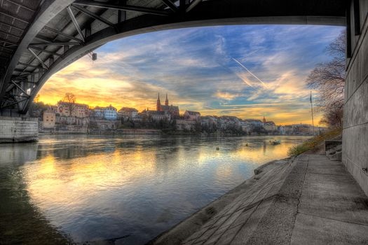 Basel, Switzerland, Rhine, sunset