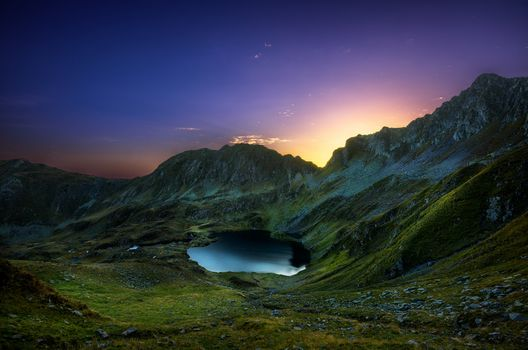 Sunrise, valley, glacier, Fagaras, Romania, the mountains, lake
