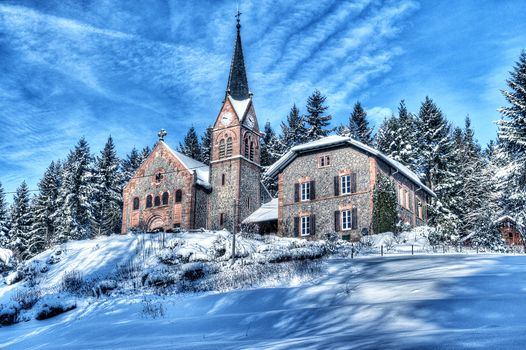 church, winter, trees, religion, France