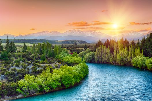 Clutha river, South Island, New Zealand, River, the mountains, trees, sunset, landscape