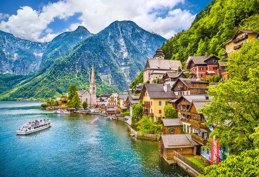 Hallstatt, Austria, Hallstatt, Galshtadt, Austria, lake, the mountains, at home, city, landscape