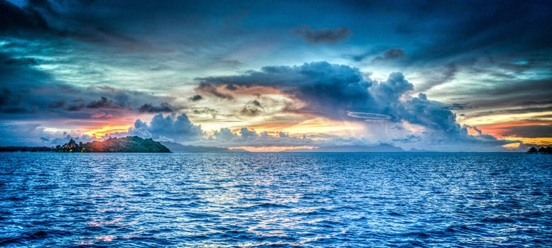 Bora Bora, Французская Полинезия, Закат солнца, океан, море, закат, волны, пейзаж, вид