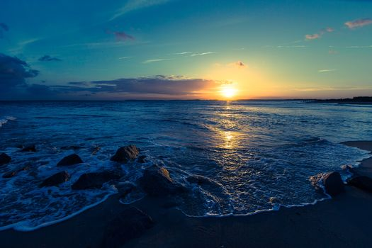sunset, sea, Coast, waves, beach