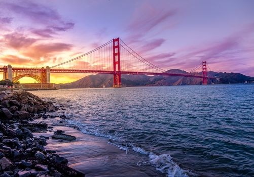 Golden Gate Bridge, Golden Gate Bridge, San Francisco, San Francisco, sunset