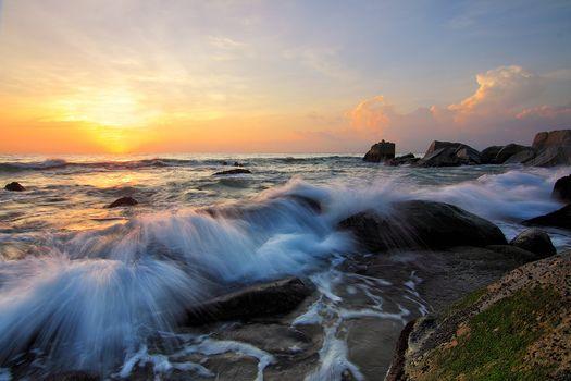 sunset, sea, rock, waves, landscape