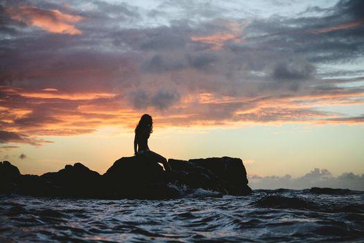 sunset, sea, rock, girl, silhouette, landscape