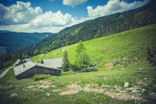 Austria, Austria, the mountains, fields, hills, lodge, trees, landscape