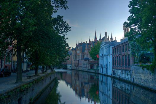 Bruges, Belgium, channel, city, dawn