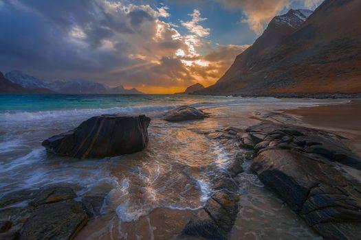 sunset, sea, rock, stones, landscape