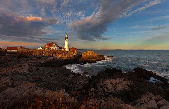 Portland Head Lighthouse, Maine, Portland Head, Portland, Maine, USA, sunset, sea, landscape