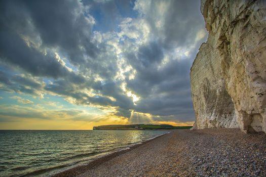 sunset, sea, Coast, rock, landscape