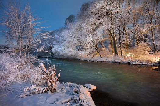 sunset, River, winter, trees, Norway, landscape