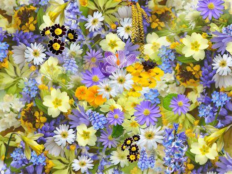 цветы, цветочный фон, флора