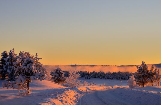 sunset, winter, road, snowdrifts, trees, landscape