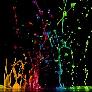 Paint, drops, spray, Black background, texture, 3d