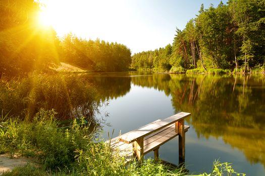озеро, лес, деревья, лодка, мостик, пейзаж