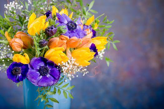 букет, ваза, тюльпаны, цветы, флора