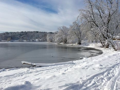 winter, lake, snow, trees, landscape
