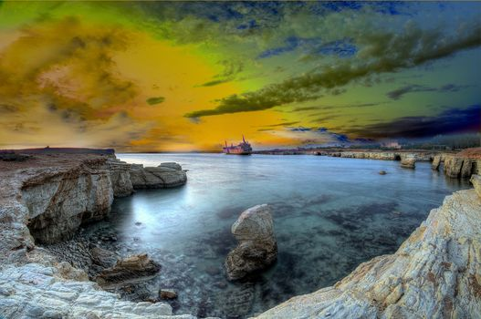 Freetown Sierra Leone, Coral Bay, Cyprus, After the storm, ship ran aground, sunset, sea, rock, landscape