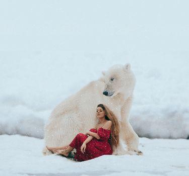 winter, girl, model, beautiful girl, snow, polar bear, polar bear