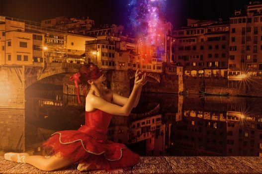 Ponte Vecchio, Florence, girl, ballerina, beautiful girl, model, clothes, mask, style