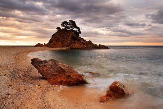 Costa Brava, Cala Cap Roig Calonge, Gerona, sea, sunset, Coast, rock, stones, landscape