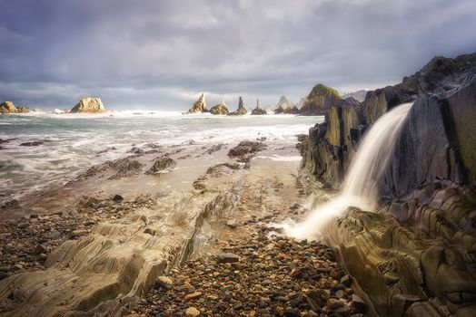 Asturias, Spain, sea, rock, stones, waterfall, landscape