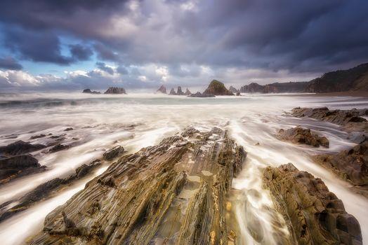 Asturias, Spain, sea, Rocky coast, rock, landscape