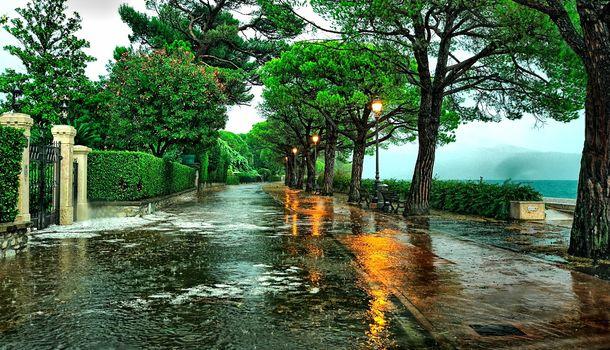 Maderno, Italy, park, road, trees, lamp, rain, landscape