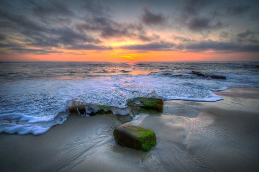 sunset, sea, Coast, waves, foam, stones, landscape