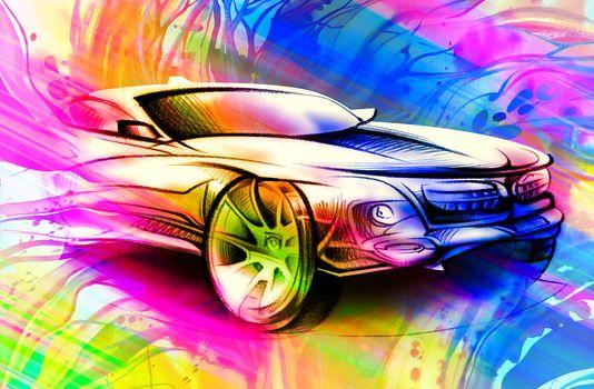 car, a car, abstraction, art