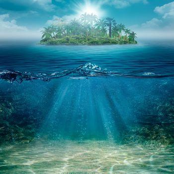 sea, tropics, beach, Island, palm trees, landscape, sea bottom