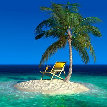 sea, Island, palm, Cocktail
